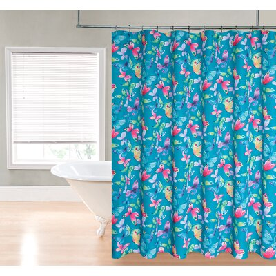 Butterfly Fabric Shower Curtain Color: Peacock