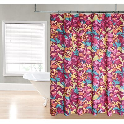 Water Floral Fabric Shower Curtain Color: Berry