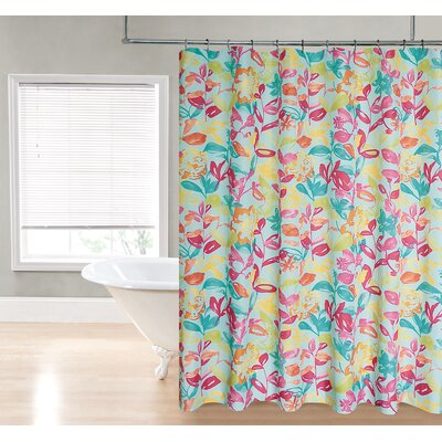 Water Floral Fabric Shower Curtain Color: Aqua