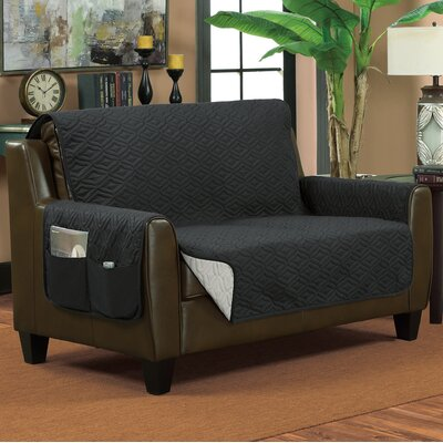 Lattice Box Cushion Loveseat Slipcover Size: Small, Color: Gray/Silver