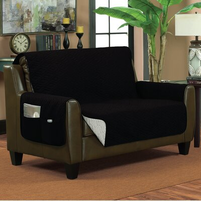Lattice Box Cushion Loveseat Slipcover Size: Small, Color: Black/Silver