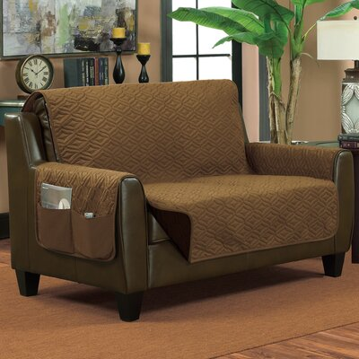 Lattice Box Cushion Loveseat Slipcover Size: Small, Color: Bronze/Brown