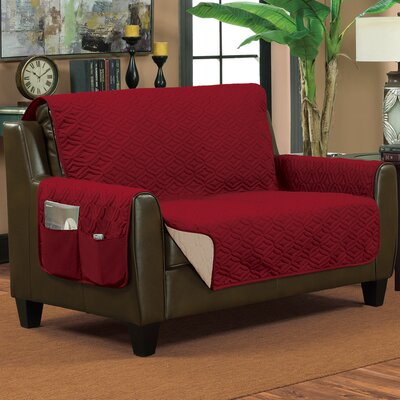 Lattice Box Cushion Loveseat Slipcover Size: Medium, Color: Burgundy/Beige