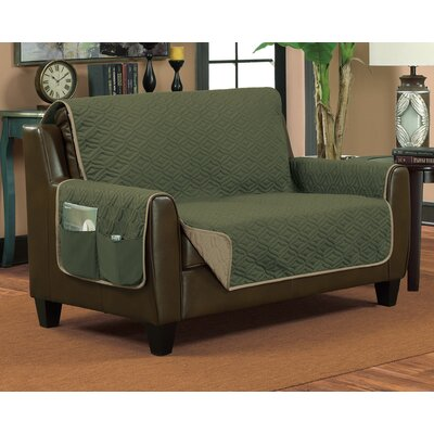 Lattice Sofa Slipcover Color: Hunter/Taupe, Size: Medium