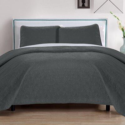 Sophia 3 Piece Reversible Quilt Set Color: Gray/Silver