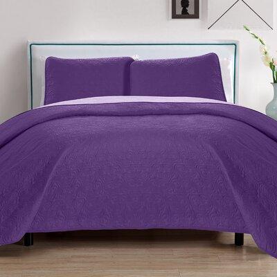 Sophia 3 Piece Reversible Quilt Set Color: Purple/Lavender