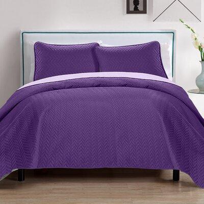 Chevron 3 Piece Reversible Quilt Set Color: Purple/Lavender