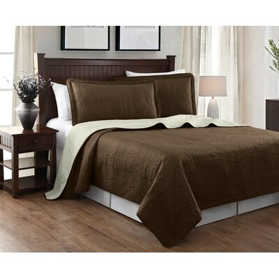 Victoria 3 Piece Reversible Quilt Set Color: Brown/Beige