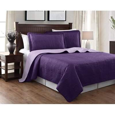Victoria 3 Piece Reversible Quilt Set Color: Purple/Lavender