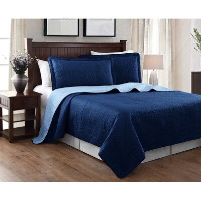 Victoria 3 Piece Reversible Quilt Set Color: Navy/Blue
