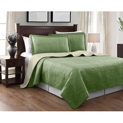 Victoria 3 Piece Reversible Quilt Set Color: Sage/Beige