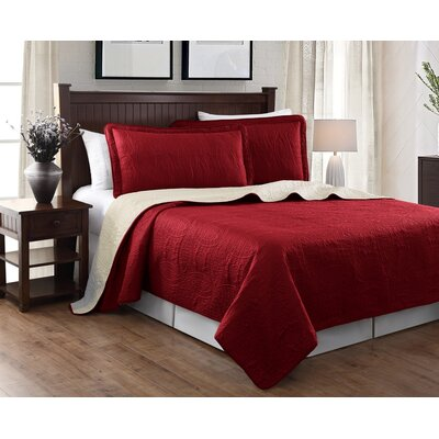 Victoria 3 Piece Embroidered Quilt Set Color: Burgundy/Beige