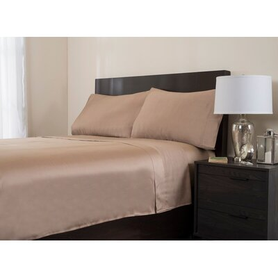 4 Piece 320 Thread Count Sheet Set Color: Taupe, Size: King