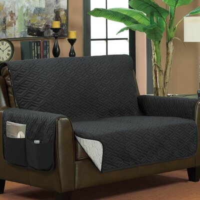 Box Cushion Loveseat Slipcover Upholstery: Gray/Silver