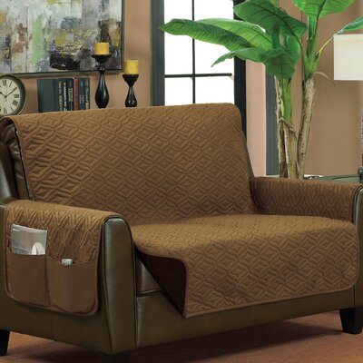 Box Cushion Loveseat Slipcover Upholstery: Bronze/Brown