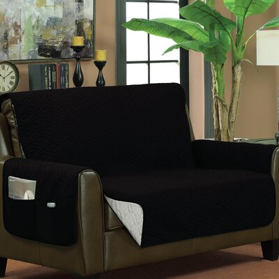Box Cushion Loveseat Slipcover Upholstery: Black/Silver