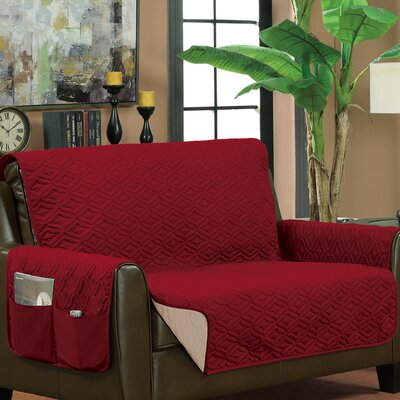 Box Cushion Loveseat Slipcover Upholstery: Burgundy/Beige