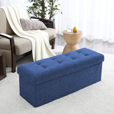 Calleja Foldable Tufted Storage Ottoman Upholstery: Navy