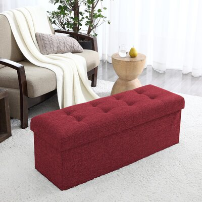 Calleja Foldable Tufted Storage Ottoman Upholstery: Burgundy
