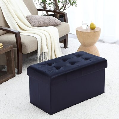 Macapanas Foldable Tufted Storage Ottoman Upholstery: Navy