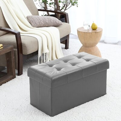 Macapanas Foldable Tufted Storage Ottoman Upholstery: Gray