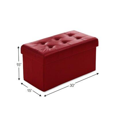 Macapanas Foldable Tufted Storage Ottoman Upholstery: Burgundy