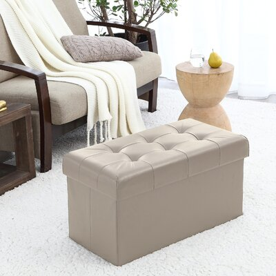 Macapanas Foldable Tufted Storage Ottoman Upholstery: Taupe
