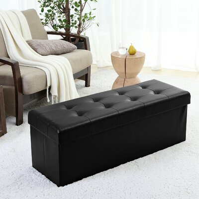 Jaymalin Foldable Tufted Storage Ottoman Upholstery: Black