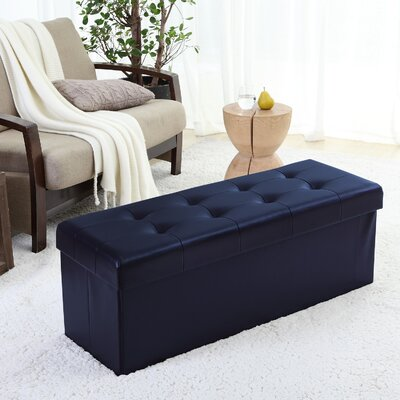 Jaymalin Foldable Tufted Storage Ottoman Upholstery: Navy