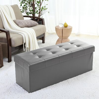 Jaymalin Foldable Tufted Storage Ottoman Upholstery: Gray