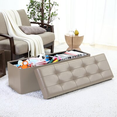Jaymalin Foldable Tufted Storage Ottoman Upholstery: Taupe