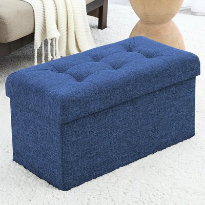 Foronda Foldable Tufted Storage Ottoman Upholstery: Navy