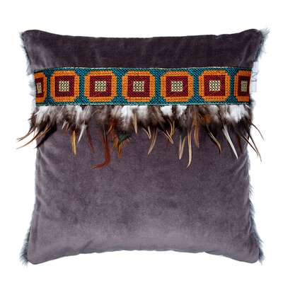Apache Pillow Cover Size: 24.18 H x 24.41 W x 0.39 D, Color: Brown