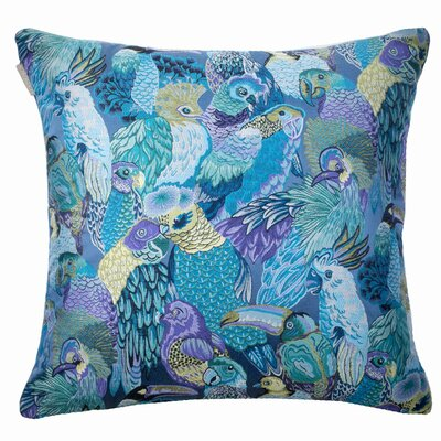 Jungle Birds Pillow Cover Color: Blue/Green