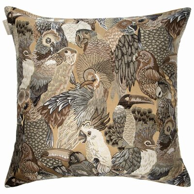 Jungle Birds Pillow Cover Color: Natural/Gray