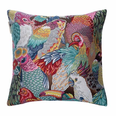 Jungle Birds Pillow Cover Color: Brown and Multiple Colors