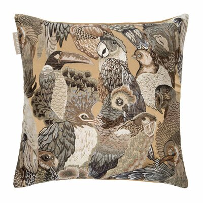 Jungle Birds Pillow Cover Color: Linen and Gray