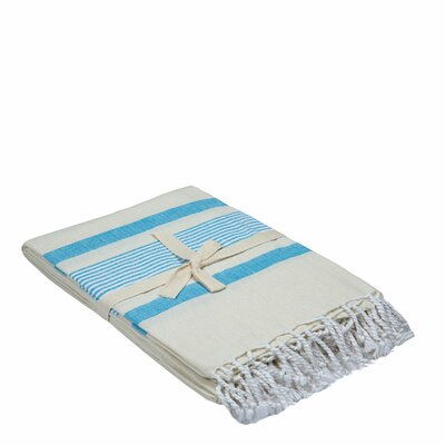 Cotton Throw Color: White/Blue