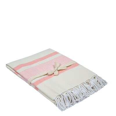 Cotton Throw Color: White/Pink