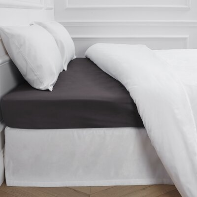 Aurore 300 Thread Count Fitted Sheet Color: Anthracite Gray, Size: Queen