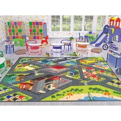 Playtime Machine Woven Gray Indoor/Outdoor Area Rug Rug Size: 33 x 47