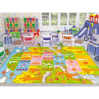 Playtime Machine Woven Green Indoor/Outdoor Area Rug Rug Size: 5 x 66