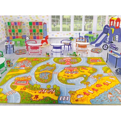 Playtime Machine Woven Green/Gray Area Rug Rug Size: 82 x 910