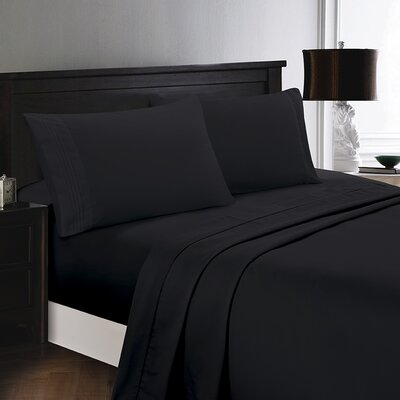 Woodward Rayon from Bamboo Comfort Sheet Set Size: Full/Double, Color: Black