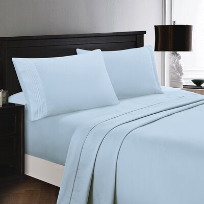 Woodward Rayon from Polyester Comfort Sheet Set Size: Full/Double, Color: Sky Blue
