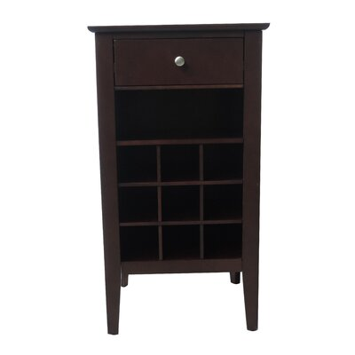 9 Bottle Floor Wine Cabinet Finish: Dark Walnut