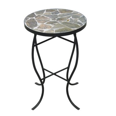 Round StoneTop Metal End Table Color: Natural Stone