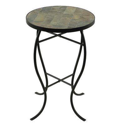 Round StoneTop Metal End Table Color: Natural Slate