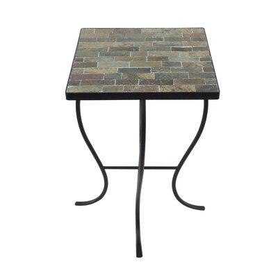 Square Stone Top Metal End Table Color: Natural Slate