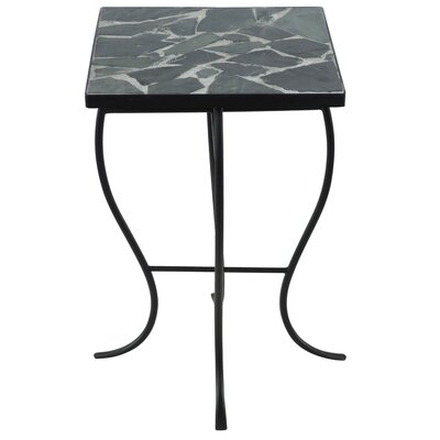 Square Stone Top Metal End Table Color: Gray Stone